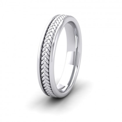 Braided Pattern 9ct White Gold 4mm Wedding Ring