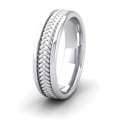 Braided Pattern 9ct White Gold 6mm Wedding Ring