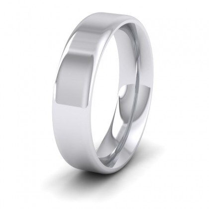Rounded Edge 950 Platinum 5mm Wedding Ring