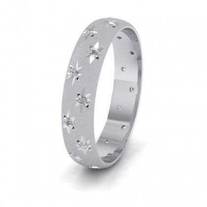 Star And Diamond Set 14ct White Gold 4mm Wedding Ring