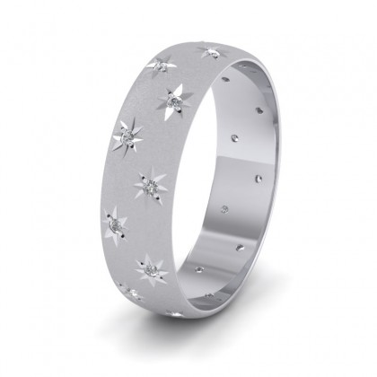 Star And Diamond Set 9ct White Gold 6mm Wedding Ring