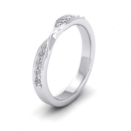 Pinch Design Wedding Ring With Diamonds 950 Palladium 3mm Wedding Ring