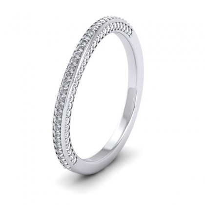 Diamond Pave Set Matching 9ct White Gold 2mm Wedding Ring