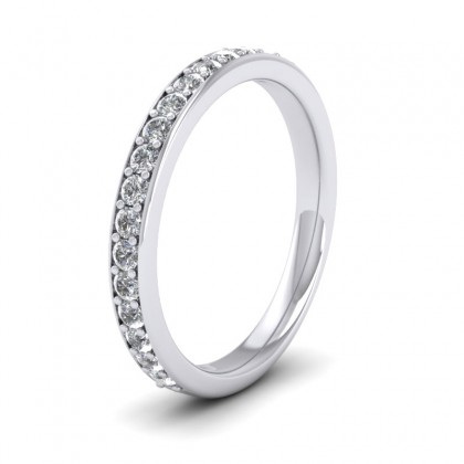 Half Diamond Pave Set 9ct White Gold 2.5mm Wedding Ring