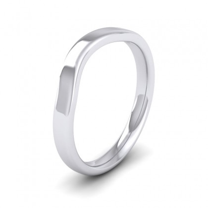 Shaped 9ct White Gold 2.5mm Wedding Ring