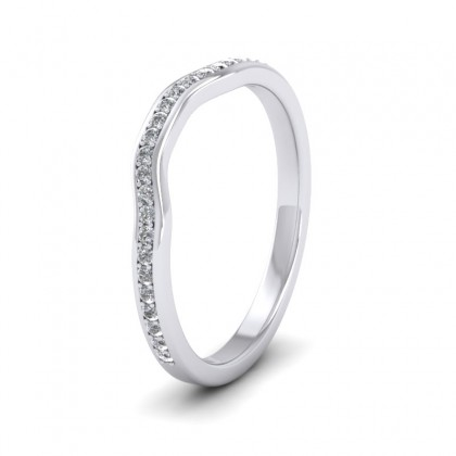 Shaped Diamond Set Pave 9ct White Gold 2mm Wedding Ring