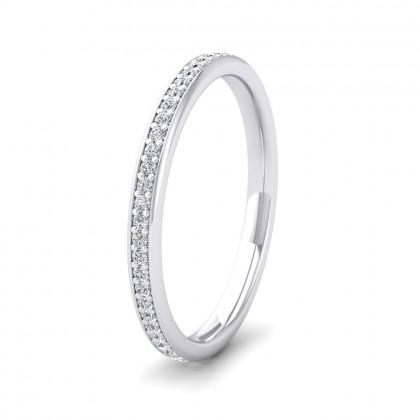 Diamond Set Pave 9ct White Gold 2mm Wedding Ring