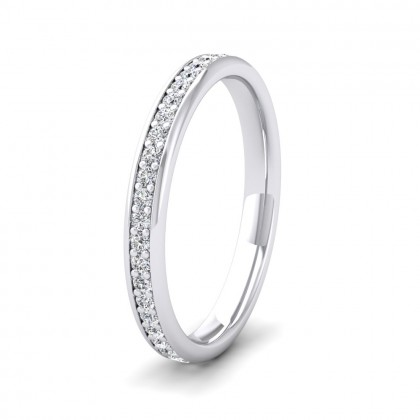 Full Bead Set 0.46ct Round Brilliant Cut Diamond 950 Palladium 2.5mm Ring