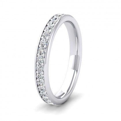 Full Bead Set 0.7ct Round Brilliant Cut Diamond 950 Platinum 3mm Ring