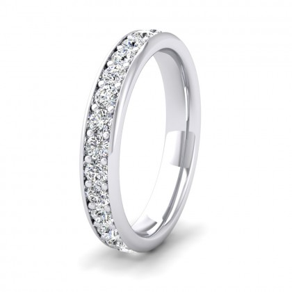 Full Bead Set 1.08ct Round Brilliant Cut Diamond 950 Palladium 3.5mm Ring