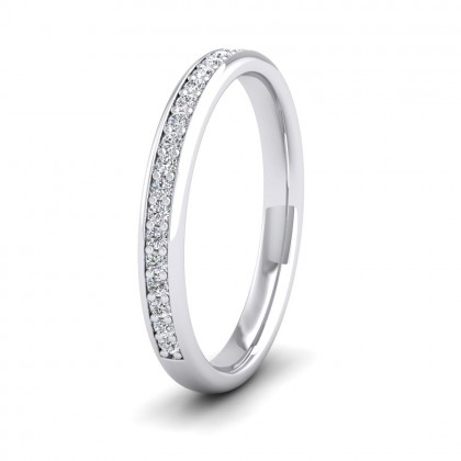 Half Bead Set 0.23ct Round Brilliant Cut Diamond 9ct White Gold 2.5mm Ring