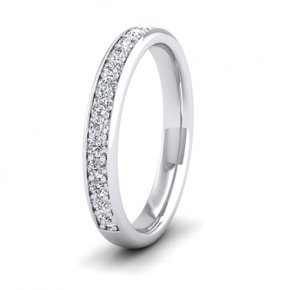 Half Bead Set 0.34ct Round Brilliant Cut Diamond 9ct White Gold 3mm Ring