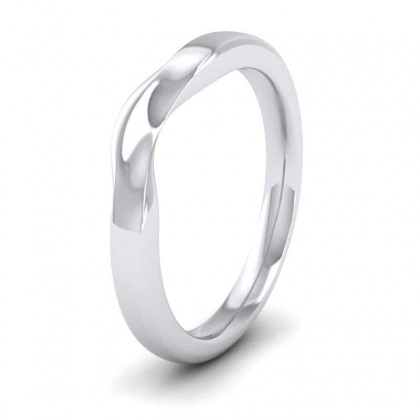 Shaped And Dipped 18ct White Gold 2.5mm Wedding Ring