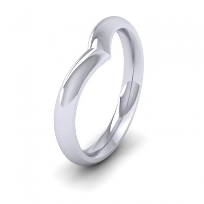 Wishbone Shaped 9ct White Gold 3mm Wedding Ring