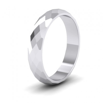 Facetted Harlequin Design 9ct White Gold 4mm Wedding Ring
