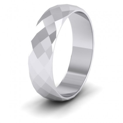 Facetted Harlequin Design 9ct White Gold 6mm Wedding Ring