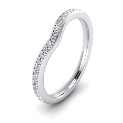 Wishbone Shape Diamond Set Pave 9ct White Gold 2mm Wedding Ring