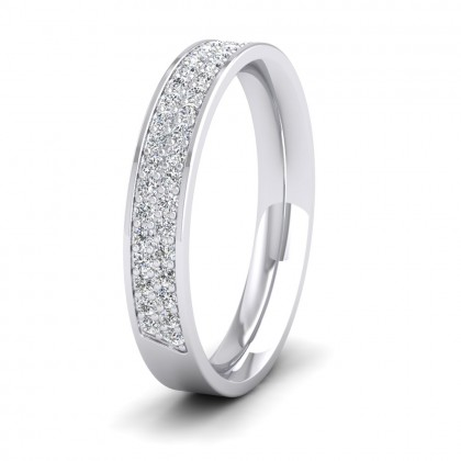 Two Row 0.44ct Half Diamond Set Pave 950 Platinum 3.5mm Ring