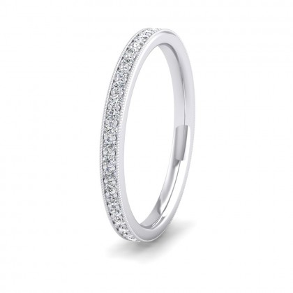 Full Bead Set 0.46ct Round Brilliant Cut Diamond With Millgrain Surround 9ct White Gold 2mm Ring