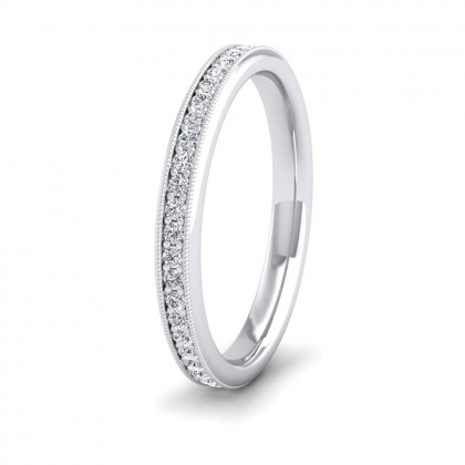 Full Bead Set 0.7ct Round Brilliant Cut Diamond With Millgrain Surround 950 Platinum 2.5mm Ring