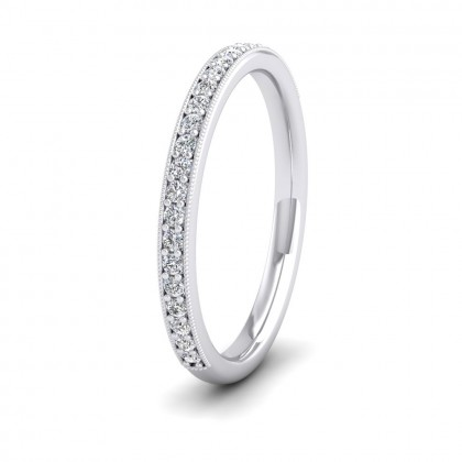 Half Bead Set 0.23ct Round Brilliant Cut Diamond With Millgrain Surround 9ct White Gold 2mm Ring