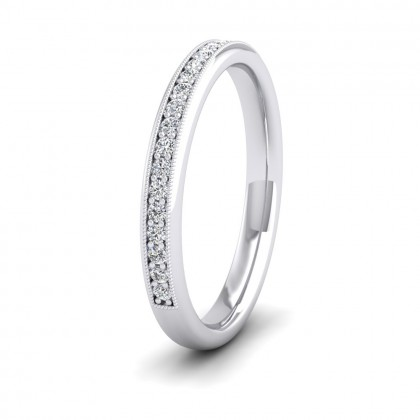 Half Bead Set 0.34ct Round Brilliant Cut Diamond With Millgrain Surround 9ct White Gold 2.5mm Ring