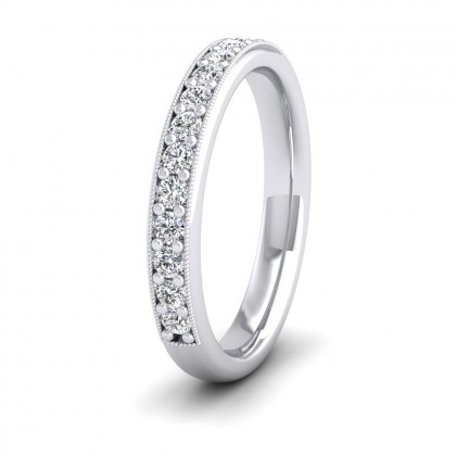 Half Bead Set 0.4ct Round Brilliant Cut Diamond With Millgrain Surround 950 Palladium 3mm Ring