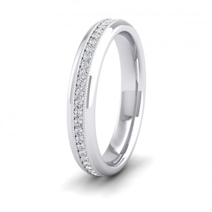 Fully Set Ring With Round Brilliant Cut Diamonds With Set In Millgrain Surround (0.26ct) 9ct White Gold 3.5mm Ring