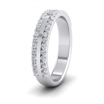 Double Edge Half Claw Set Diamond Ring (0.5ct) In 9ct White Gold