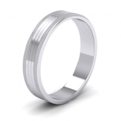 Grooved Pattern 9ct White Gold 4mm Flat Wedding Ring