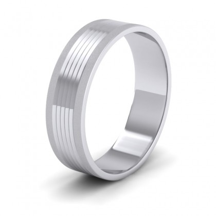 Grooved Pattern 9ct White Gold 6mm Flat Wedding Ring