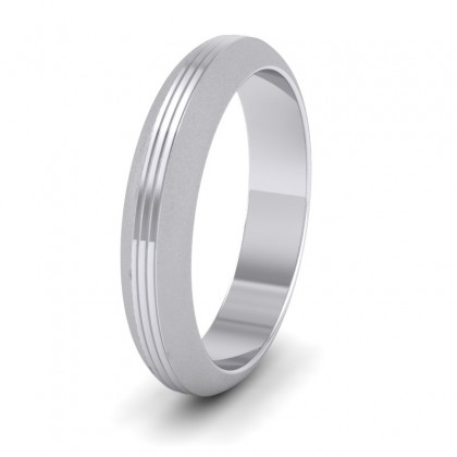 Grooved Pattern 9ct White Gold 4mm Wedding Ring