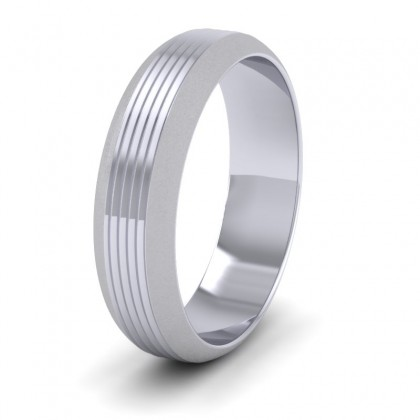 Grooved Pattern 9ct White Gold 6mm Wedding Ring