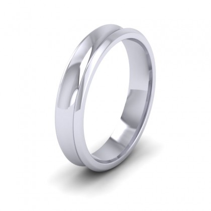 Concave 500 Palladium 4mm Wedding Ring