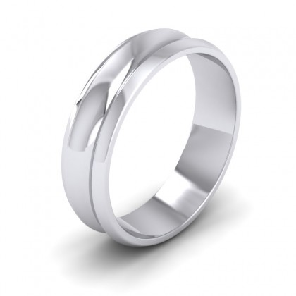 Concave 950 Platinum 6mm Wedding Ring