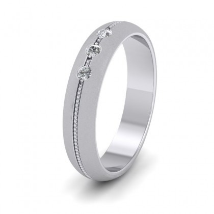 Three Diamond And Centre Millgrain Pattern 14ct White Gold 4mm Wedding Ring