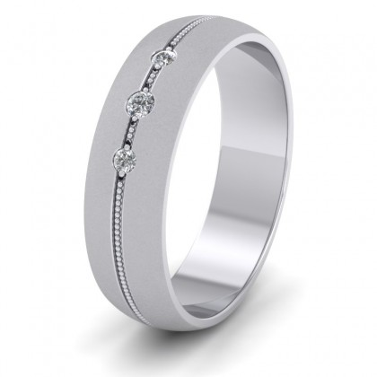 Three Diamond And Centre Millgrain Pattern 9ct White Gold 6mm Wedding Ring