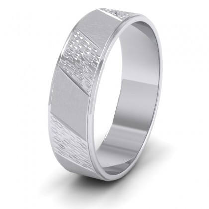 Diagonal Matt And Patterned 9ct White Gold 6mm Wedding Ring
