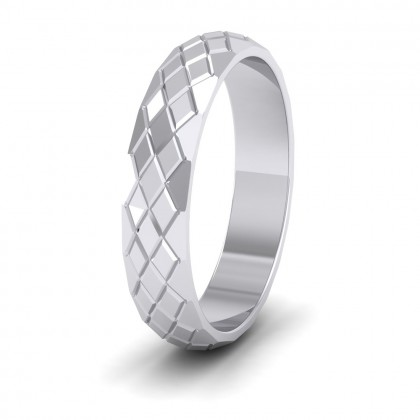 Facet And Line Harlequin Design 950 Platinum 4mm Wedding Ring