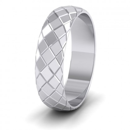 Facet And Line Harlequin Design 9ct White Gold 6mm Wedding Ring