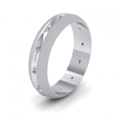 Wedding Ring With Concave Groove Set With Twelve Diamonds 6mm Wide In 500 Palladium