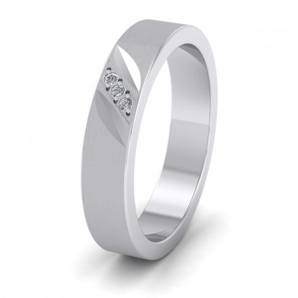 Diagonal Cut And Diamond Set 9ct White Gold 4mm Flat Wedding Ring