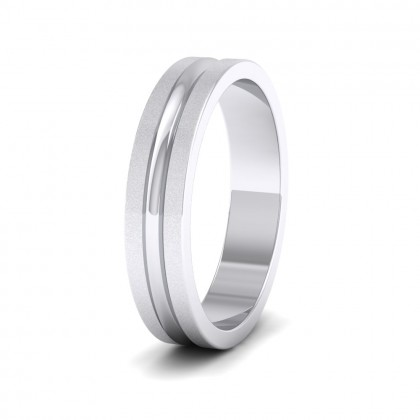 Bullnose Groove Pattern Flat 9ct White Gold 4mm Flat Wedding Ring