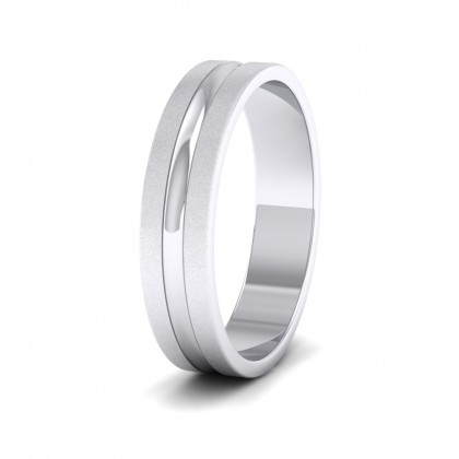Bullnose Groove Pattern Flat 9ct White Gold 5mm Flat Wedding Ring