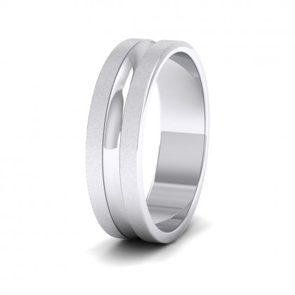 Bullnose Groove Pattern Flat 9ct White Gold 6mm Flat Wedding Ring