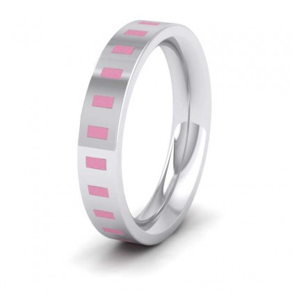 Pink Enamelled Block 9ct White Gold 4mm Wedding Ring