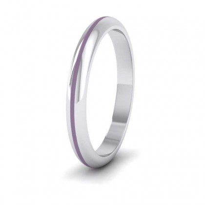 Lilac Enamelled 18ct White Gold 2.5mm Wedding Ring