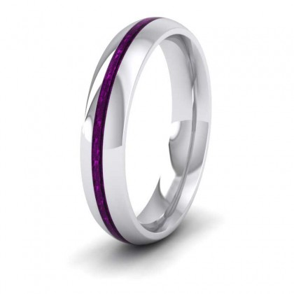 Amethyst Enamelled 9ct White Gold 4mm Wedding Ring