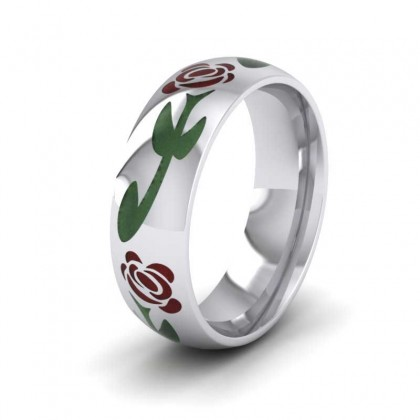 Crimson Flower Enamelled 9ct White Gold 6mm Wedding Ring