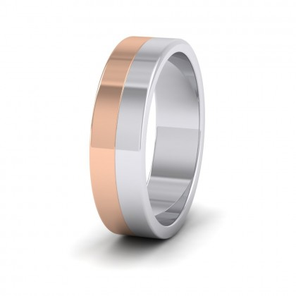 Half And Half Two Colour 9ct White And Rose Gold 6mm Flat Wedding Ring